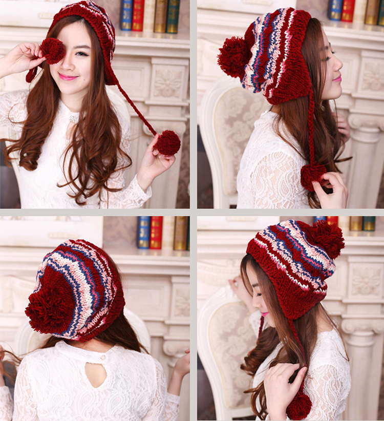 keep warm winter hats for women ladies ethnic braid handmade knitting Chain Link Fence bomber hats ski ear protect striped cap(China (Mainland))