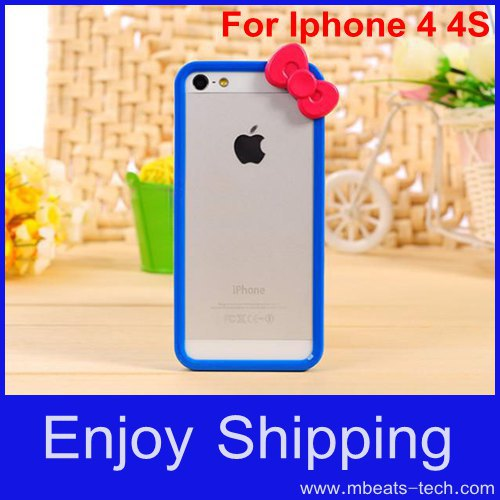 wholesale DHL free shipping 50 pcs/lot new cute plastic hello kitty bumper frame for iphone 4 4s(China (Mainland))