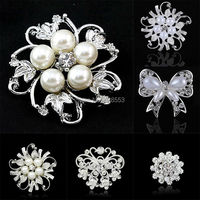 2015 New Arrival Hot Sale Fashion Brooches Pins Silver Plated Vintage Crystal Rhinestone Brooch Bouquet For Wedding Women