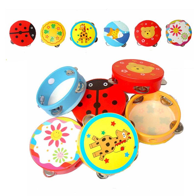 1 X Kids Wooden Tambourine Printing Flower Hand Held Drum Baby Bedtime Toys(China (Mainland))