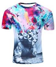 2018 космическая галактика футболка для мужчин/женщин 3d футболка Веселая печать Кошка Лошадь акула мультфильм мода лето футболки оптом(China)