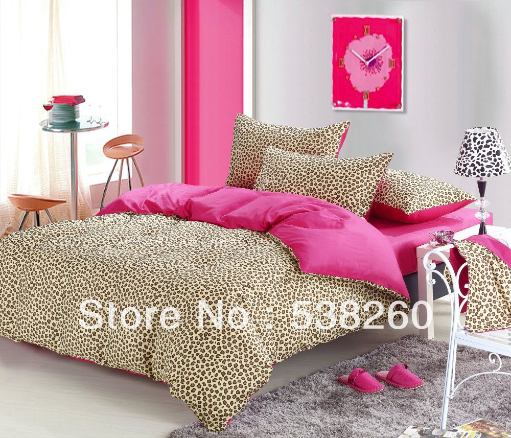 Free Ship High Quality Cotton Bedding Leopard Print