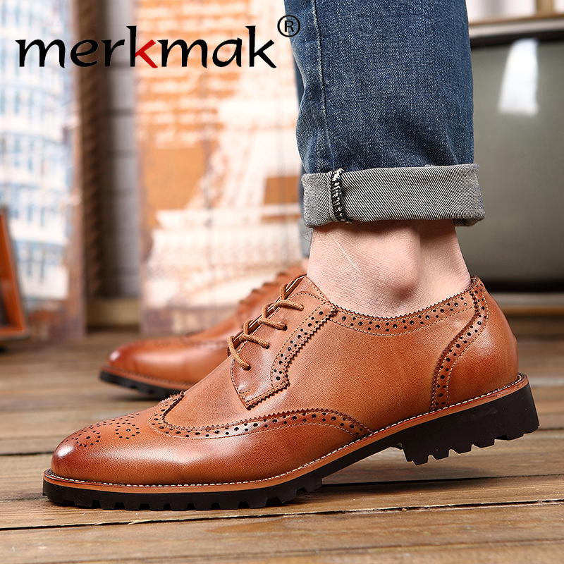 New Arrival Plus Size Vintage Leather Men's Shoes Business Formal Brogue Pointed Toe Carved Oxfords Vintage Wedding Dress Shoes(China (Mainland))