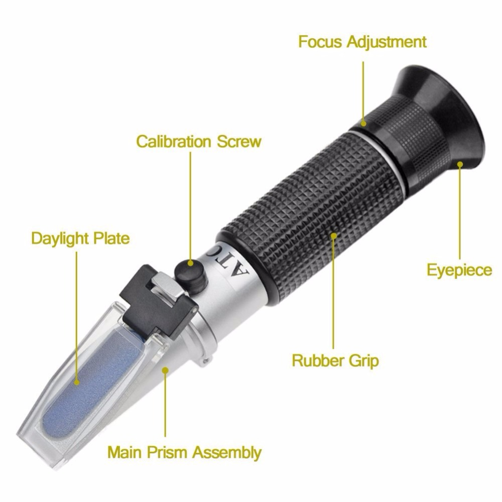 Creative 0~32% Brix Specific Gravity Refractometer with ATC for Sugar Fruit Milk