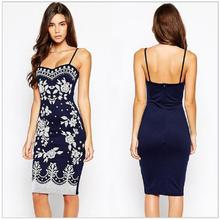 2015 Navy Blue Spaghetti Strap Summer Style Dress Women Bodycon Midi Party Dresses Ladies Floral Print Casual Pencil Dress 22135(China (Mainland))