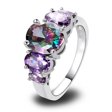 Wholesale Free Shipping 114R OVAL CUT RAINBOW SAPPHIRE & AMETHYST 925 SILVER RING SIZE 6 7 8 9 10