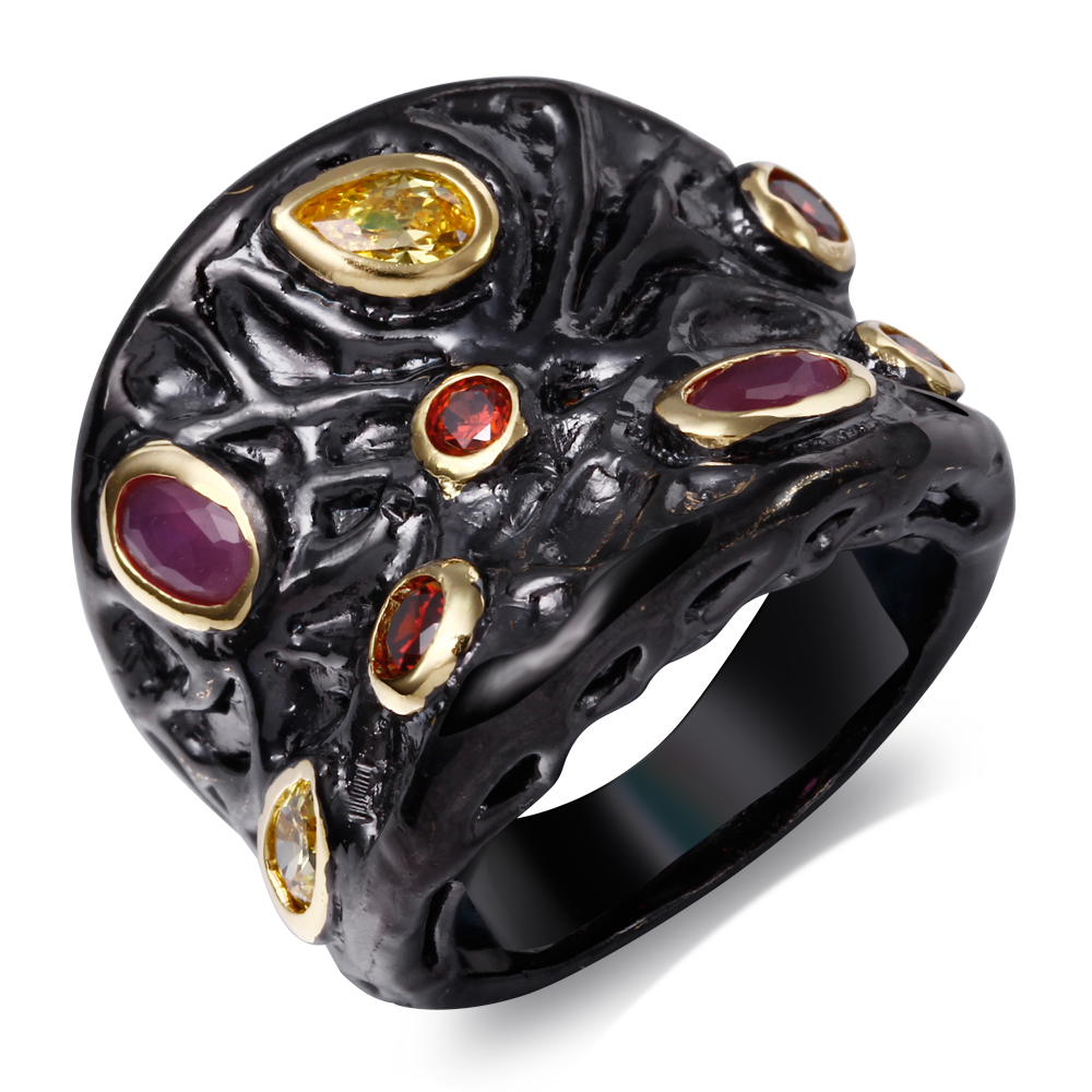 Fashion Exaggerated Vintage Style Ring IP Black and Gold filled setting with Ruby and Champagne Stones Rings(China (Mainland))