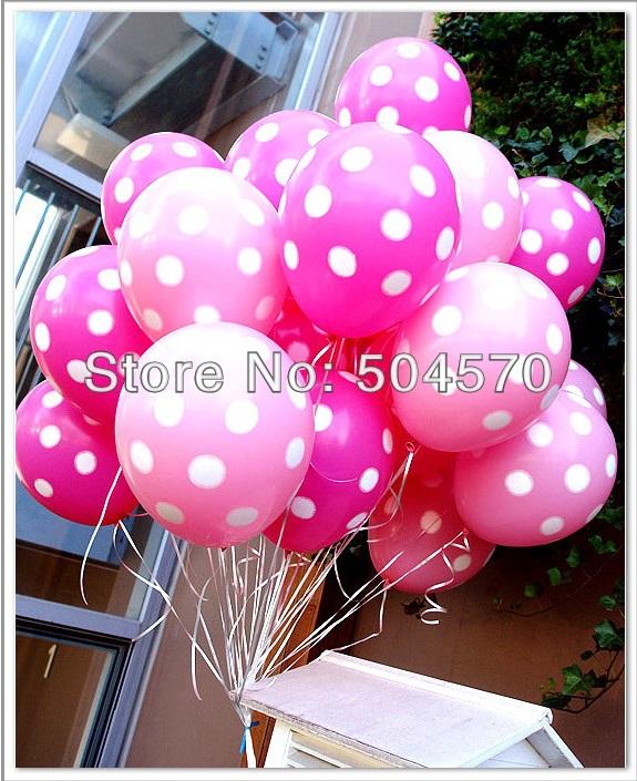 100pcs/lot 12inch Korea Neo Pink Dot Tone Inflation Balloons For Wedding Party Room Decors Latex Balloon(China (Mainland))