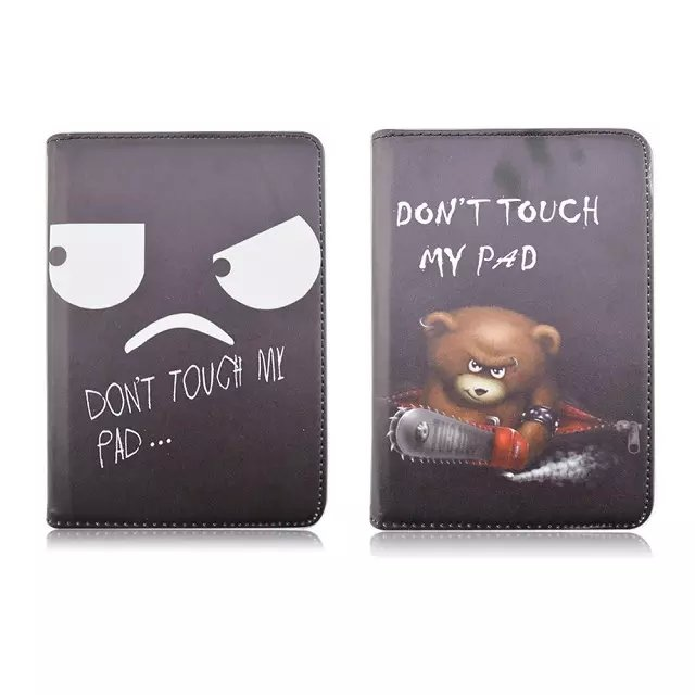 360 degree Rotating leather case for apple Ipad mini 4 Cartoon flip smart cover with stand