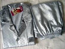 Gray Chinese Men's Silk Rayon 2pc Nightwear Robe sleepwear Pyjamas Sets Bath Gown L XL XXL SH003(China (Mainland))