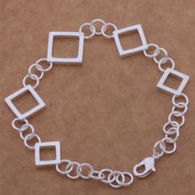 SL-AH057 Wholesale silver plating bracelet, 925 stamped silver fashion jewelry Five square grid /bdtajvaa acsaitza(China (Mainland))