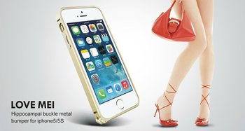 Love Mei Hippocampal Buckle Aluminum Bumper Metal Case For iphone 5S 5 Retail Package Free Shipping