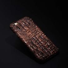 Luxury Crocodile Pattern Gild Metal Aluminum Genuine For iPhone 6S 6 /6plus Leather Mobile Phone Case Accessories Case JS0163