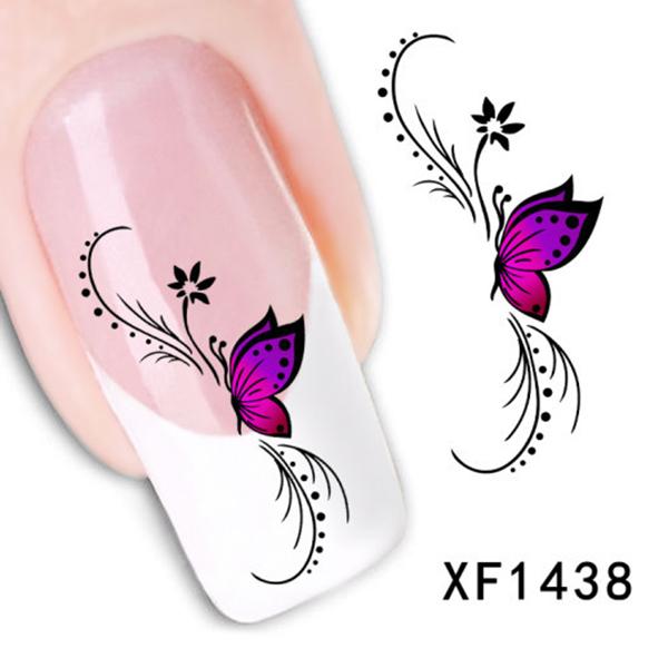 Trendy 1 Sheet 3D Design Purple Butterfly Flower Nail Water Decals Art Stickers Watermark Decoration DIY(China (Mainland))