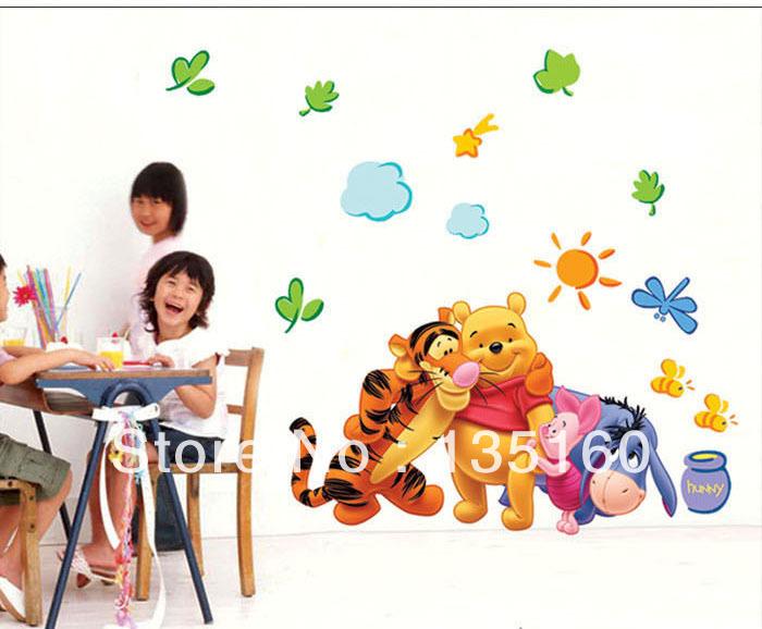50x70cm Bear Tigger House Room Wall Decoration Kidsu0027 Room Children  Classroom Wall Mural Mixed Cartoon ...