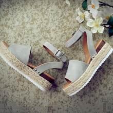 Zapatos de cuña para mujer Sandalias de tacón alto zapatos de verano 2019 chussures sandalias de plataforma de mujer 2019 talla grande(China)