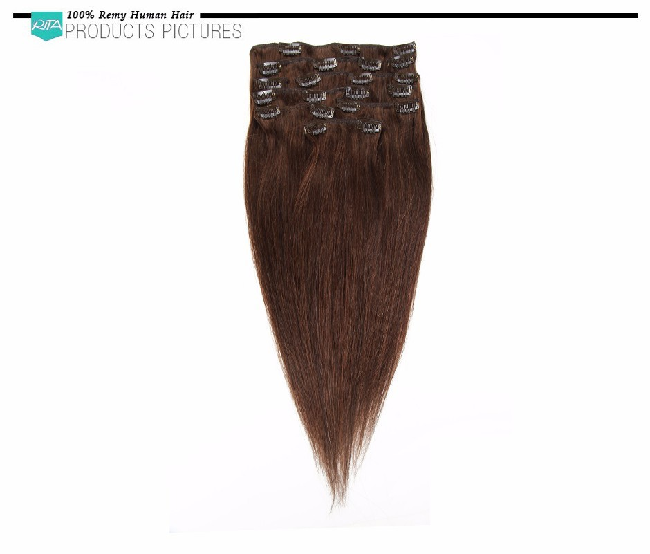 7A 100% Brazilian Virgin Clip In Hair Extensions 7-10 Pcs/set  #4 Full Head Dark Brown Straight Clip in Human Hair Extension