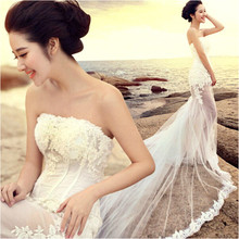 bride wedding dress after the spring before trailing short long tail bud silk dress custom 8501 pregnant women(China (Mainland))