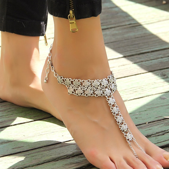 Antique Silver Vintage Style Ankle Bracelet Barefoot Sandals Anklets for Women Foot Jewelry Anklet CA032