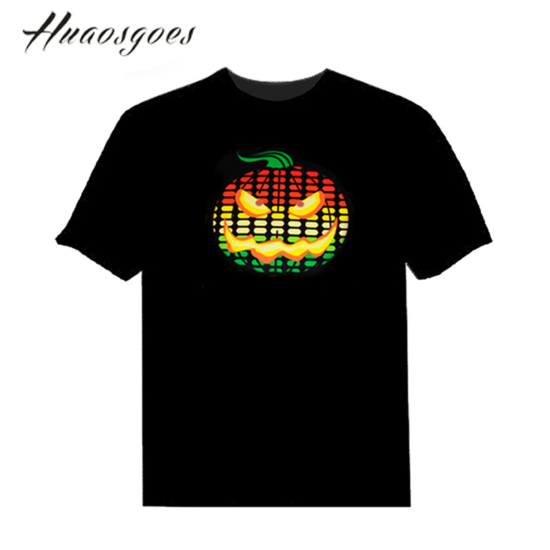 Pumpkin EL Sound Activated Tshirt Light Up and down Equalizer music activated led flash T-Shirt Man for Party DJ Festival(China (Mainland))