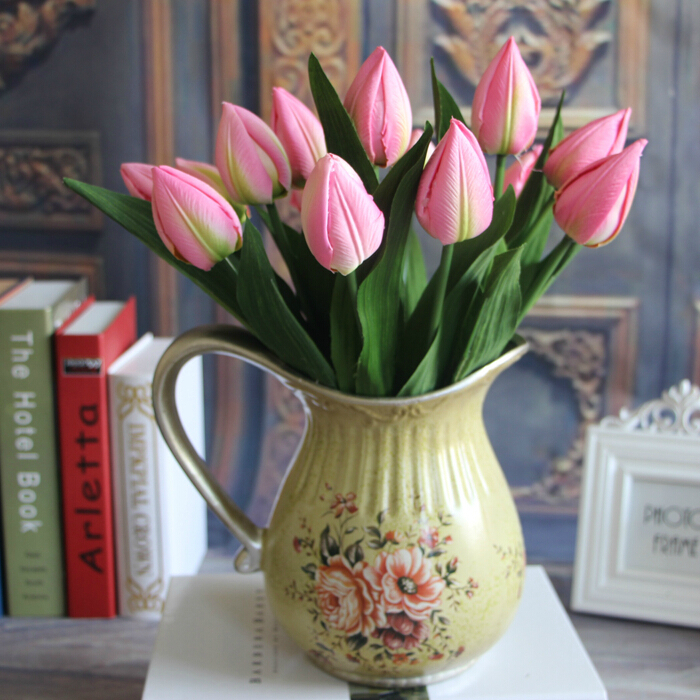 14pcs/lot 5 Colors Hand Bunch Short Stem Holland Bud Tulips Dining Table Artificial FabricFlower Wedding Home Decorative Flowers(China (Mainland))