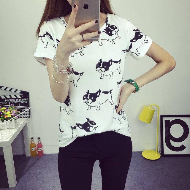 Летний Новый милая собака отпечатано мода одежда Футболки для женщин футболка femme poleras camisetas футболка женские футболки топы