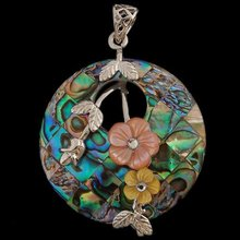 Fashion K-Gold Plated Mother of Pearl Abalone Shell w/ Rhinestone Necklaces Pendant Beads Wholesale, Free Shipping(China (Mainland))