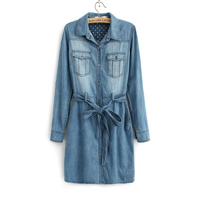 2016 denim dress Female Casual Style Large Size Summer Womens Cotton Blue Jeans Dresses Lady Party Vestidos - Mint&Blue store