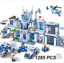 New 1285pcs large City polic Scene Helicopter Bricks 8353 Building Block Classic educational Minifigure Compatible with Legoe