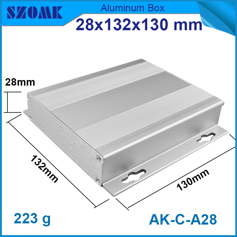 4 pcs/lot sand Blast 28(H)x132(W)x130(L) mm silver color projector aluminum case project box for LED sensor box and GPS tracking<br><br>Aliexpress