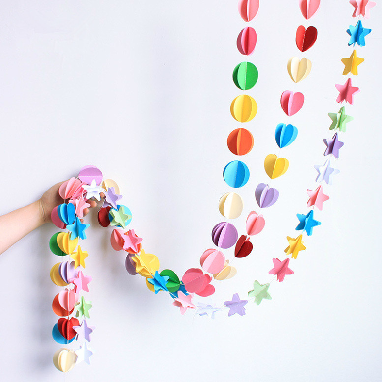 1pcs/lot Party Decorations Paper Garland Heart/Plum flower/Five-pointed star/Pellet/Butterfly Shape Colorful Garland Free ship(China (Mainland))