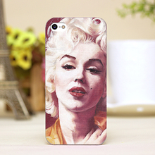 pz0020-8 oil painting Marilyn Monroe Design cellphone transparent cover cases for iphone 4 5 5c 5s 6 6plus Hard Shell