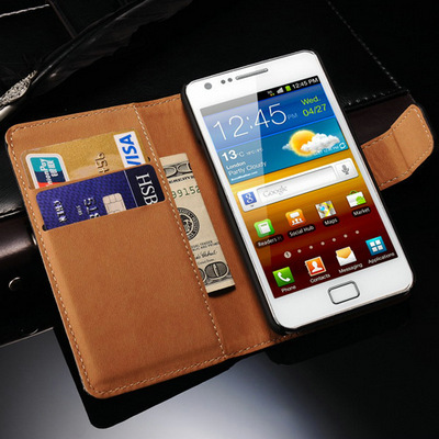 Stand Design Real Leather Case for Samsung Galaxy S2 I9100 SII Book Style Mobile Phone Back Cover with Card Slot Black(China (Mainland))