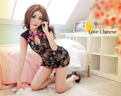 1324 Taiwan flower pattern dress uniform temptation sexy sexy lingerie dress sexy nightgown interest table(China (Mainland))