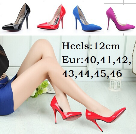 Eur:40-44 45 46 Hot selling spring/autumn red bottom Ultra high heels 12cm club CD sexy wedding pumps woman fashion single shoes - Drop shipping store
