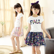 Children's clothing female child short skirt set summer 2016 child summer female big boy girl short-sleeve T-shirt skirt