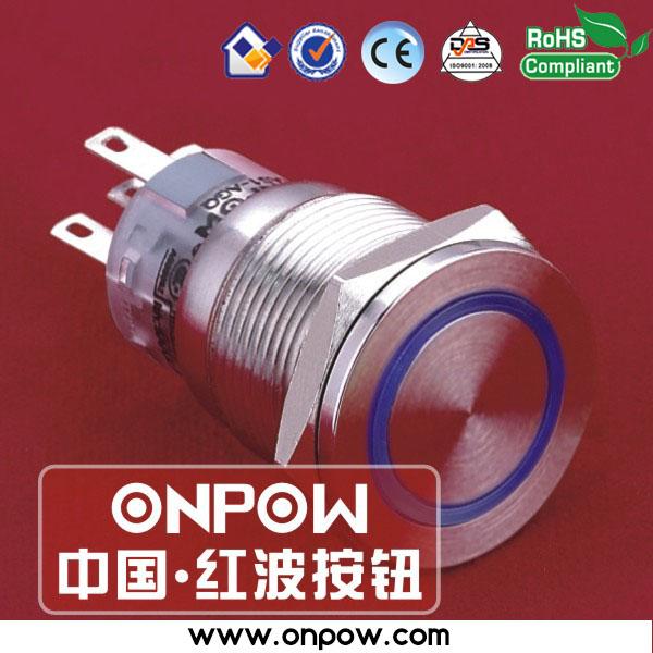ONPOW 19mm metal momentary ring illuminated pushbutton switch anti-vandal LAS1-AGQPF-11E/B/12V/S(China (Mainland))