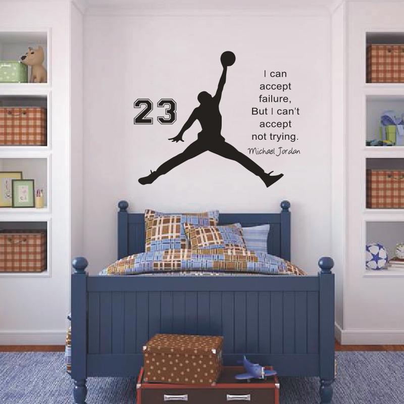 Michael Jordan Basketball Inspirational Wall Sticker Quotes Vinyl Wall Decals Wall Mural Art Kids Children Room Decor(China (Mainland))