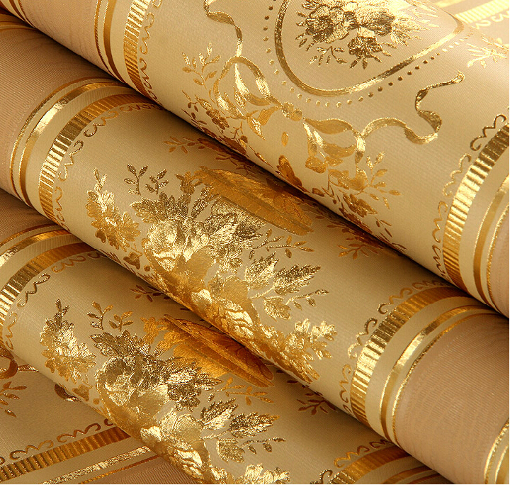 European luxury floral striped wallpaper waterproof for Gold wallpaper living room
