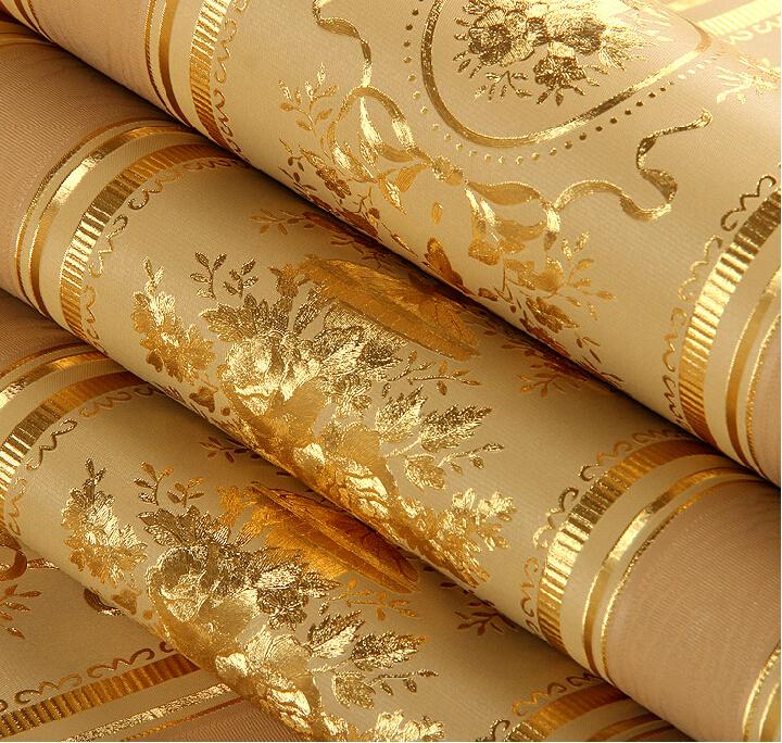 European Luxury Floral Striped Wallpaper Waterproof