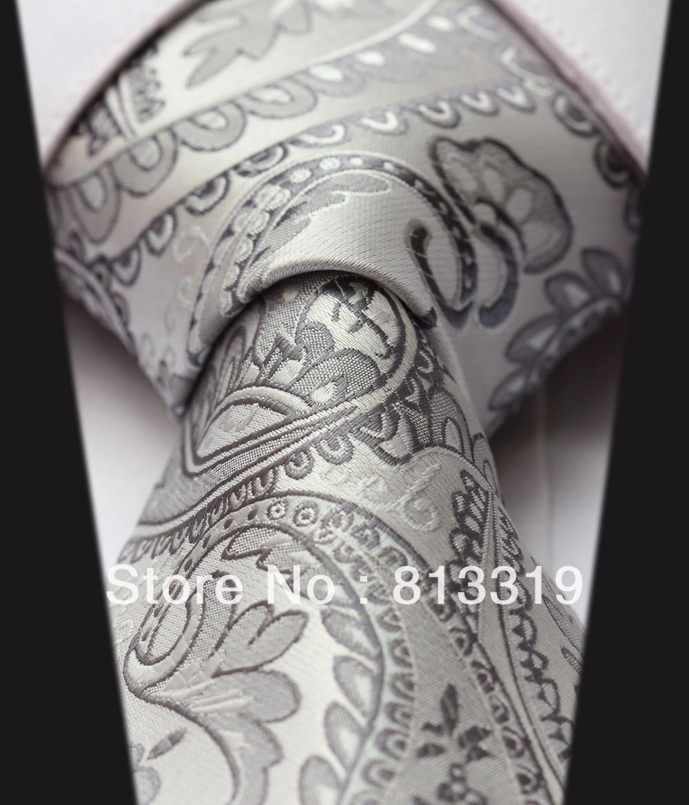 TF4015A8 Gray Floral 100% Silk New Hot Jacquard Woven Classic Man's Tie Necktie - HISDERN store