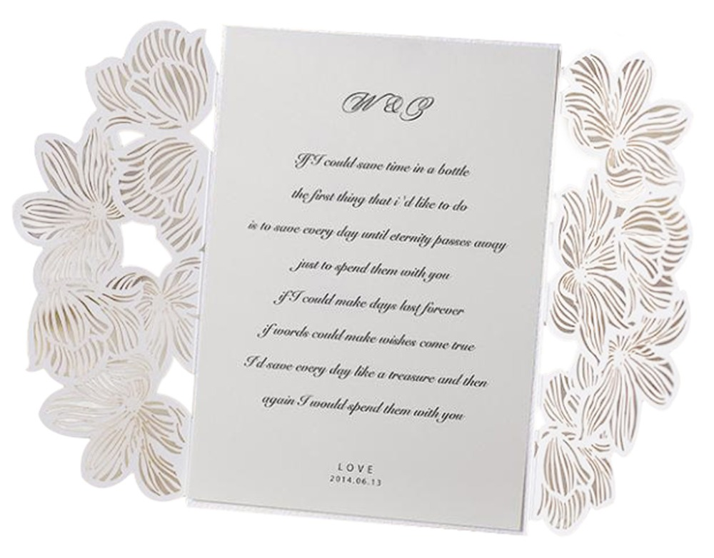 lace hollow white folded wedding invitations blank inner With blank folded wedding invitations