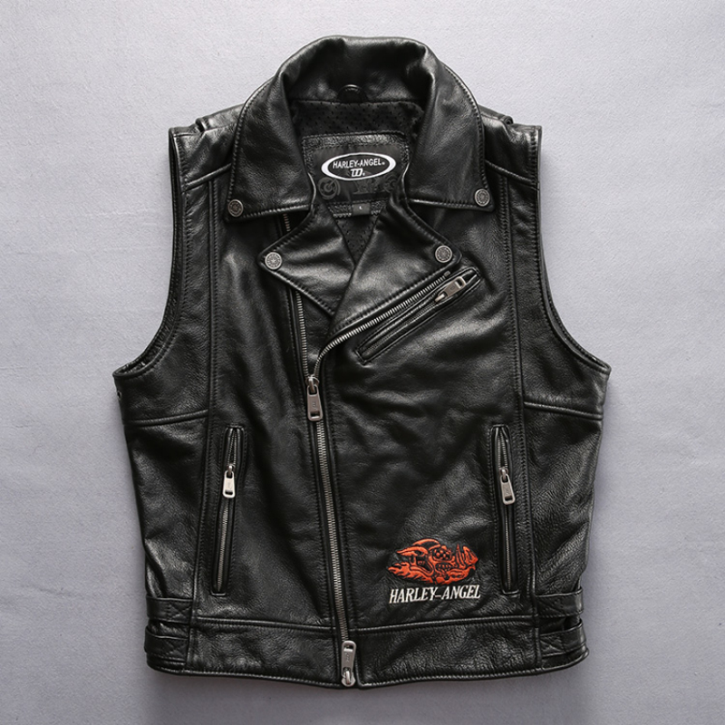 harley motorcycle cow leather vest lovers short slim street vest leather jacket genuine cowhide leather vest(China (Mainland))