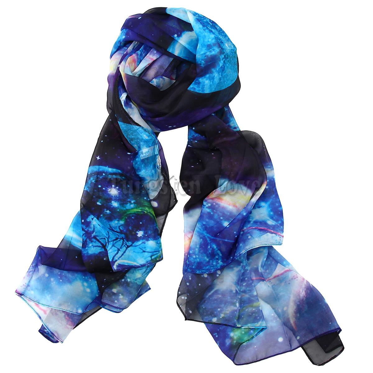 Blue Color Charming Fancy Stars in Sky Print Soft Silk Scarf Long Shawl Scarves for Women 175*90 cm(China (Mainland))