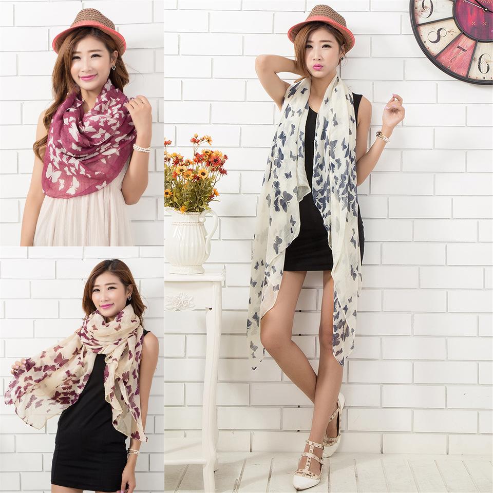 Sunscreen Butterfly Leopard Print Luxury Brand Scarf Women 2015 Designer Silk Shawls Scarves 180cm BLS-17 - Sinsery Yuan store