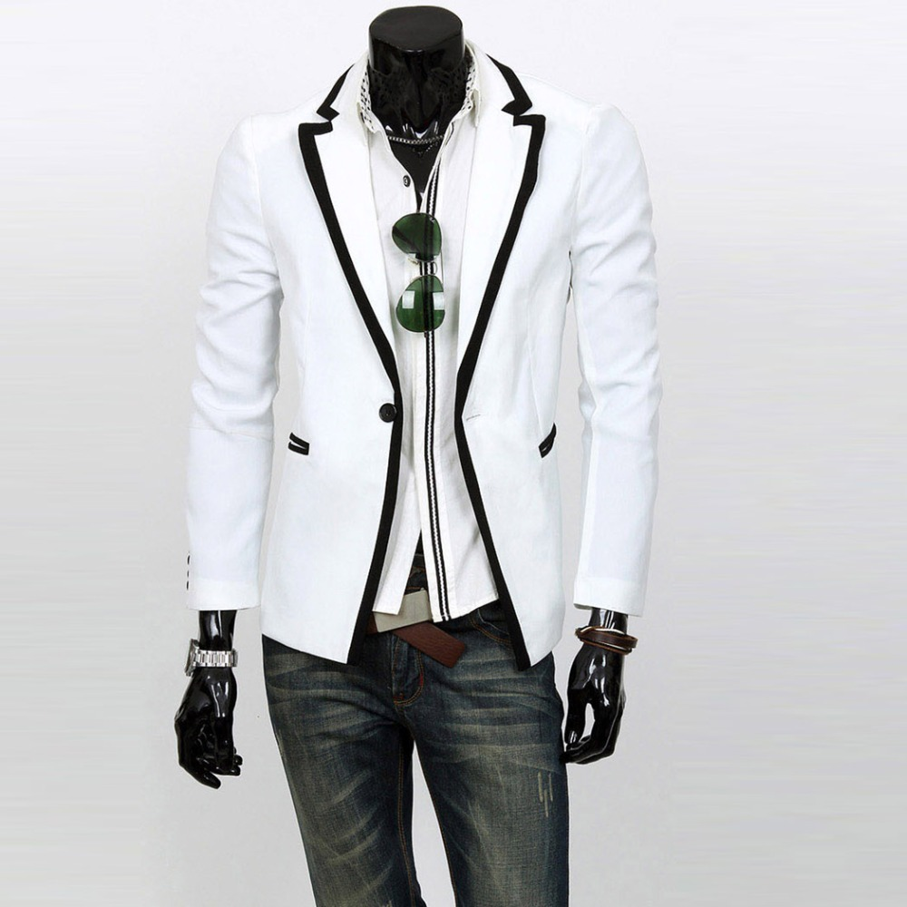 new fashion mens jacket suits slim fit stylish casual one