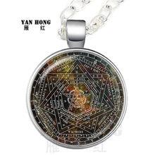 חדש טבעי פנטגרם זכוכית שרשרת גותי תליון שרשרת וינטג Evil סמוי תכשיטי מחומש פגאני קסם מתנה(China)