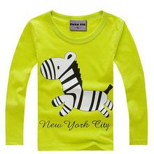Brand New t shirts cotton long sleeve children t shirts,cute animal cartoon t-shirt,candy color bottoming t shirt, nova kids