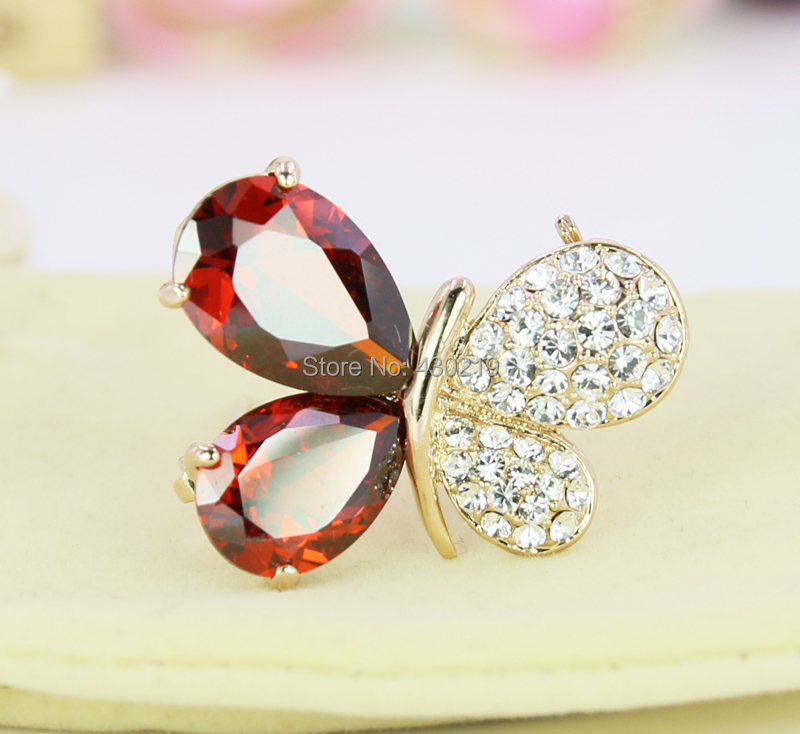 B650198 Luxurious Crystal Butterfly Brooches Zinc Alloy 18k Rose Gold Plated CZ fashion Jewelry - Yilinna store