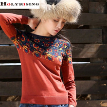 2016 Autumn And Winter women Pullover floral sweater o-neck Gypsy style Fashion Casual Knit Print Jacket(China (Mainland))
